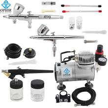 OPHIR Pro 3 Airbrush Kits with Air Compressor for Model Hobby Makeup Cake Decorating Airbrush Compressor Set _AC089+004A+071+070(China (Mainland))