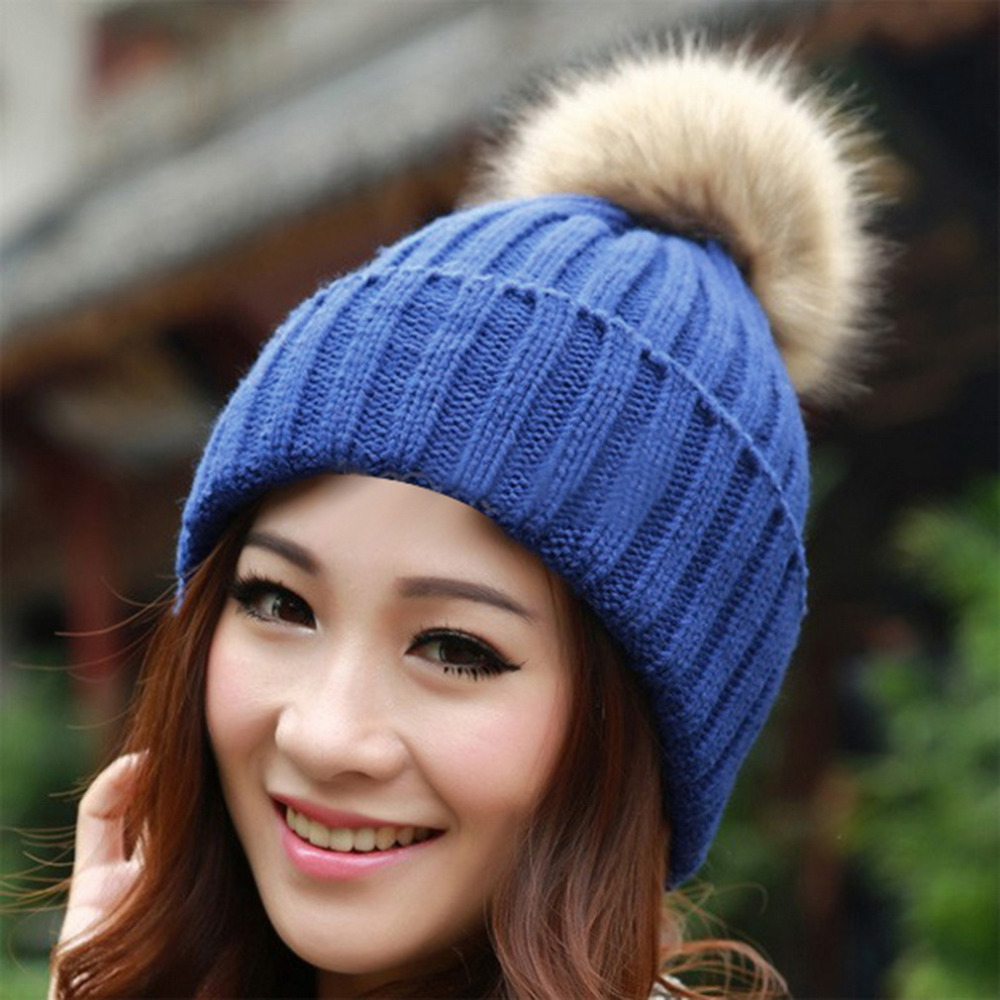 Winter Women's Candy Beanies Knitted Caps Crochet Hats Artificial Fur Pompons Curling Ear Protect Cute Casual Skullies Beanies(China (Mainland))
