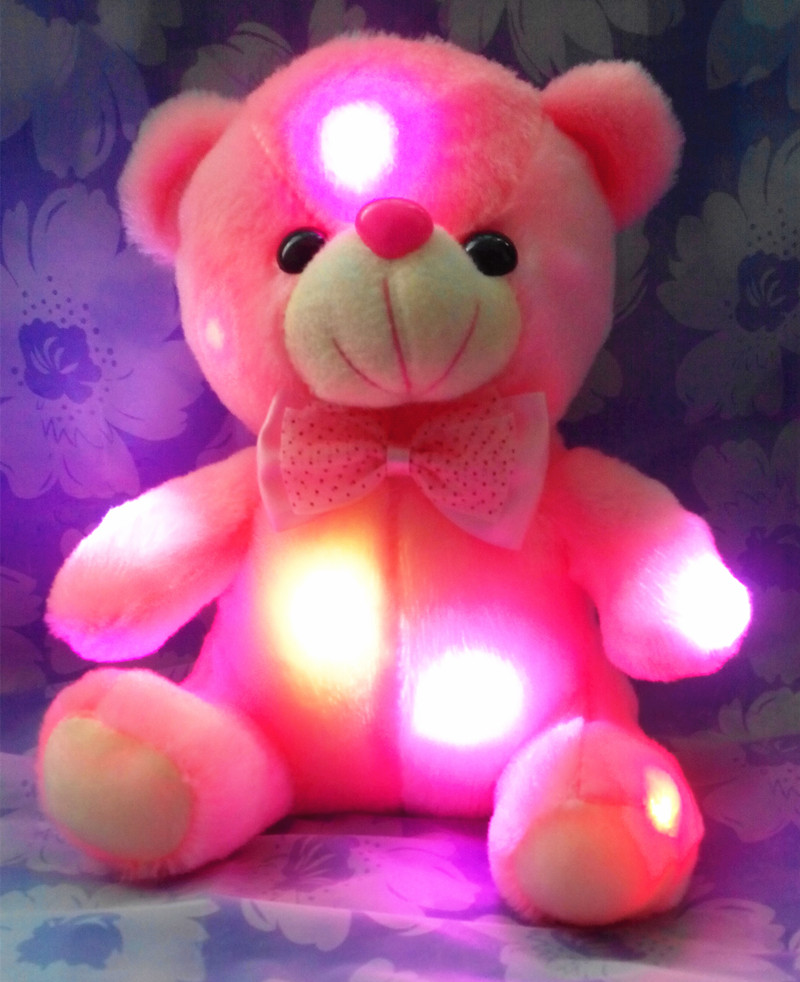 Little Cute White Light-up Colorful Led Tied Bear For Girl Or Boy As Bed Toys Gifts<br><br>Aliexpress