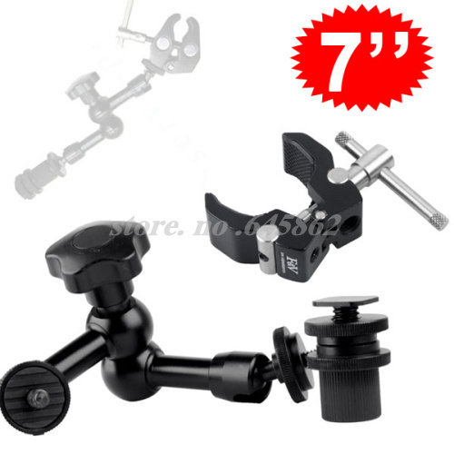 """7"""" Inch Articulating Magic Arm + Small Super Clamp for LCD Monitor LED light Free shipping worldwide +tracking number"""