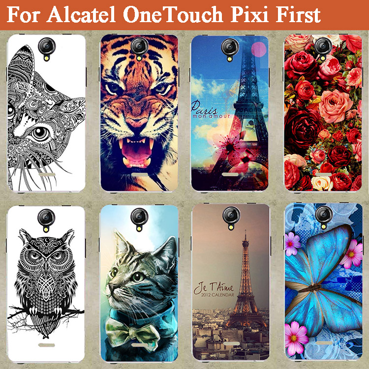 Lovely Colored Paint TPU case For Alcatel One Touch Pixi First OT 4024 4024D 4024X Fashion CUTE Design Special Stand cover case(China (Mainland))