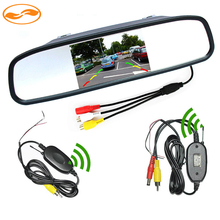 Free Shipping 4.3 Inch Car Rearview Mirror Monitor + 2.4Ghz Wireless Video Transmitter and Receiver Kit for Rear View Camera(China (Mainland))