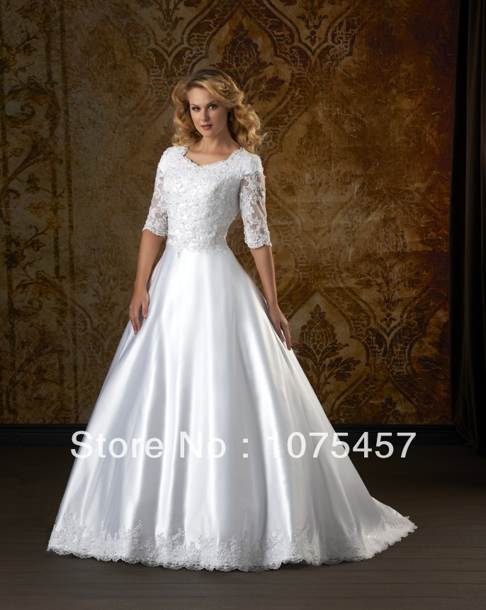 2014 simple half sleeve wedding dresses taffeta lace for Wedding dresses with half sleeves