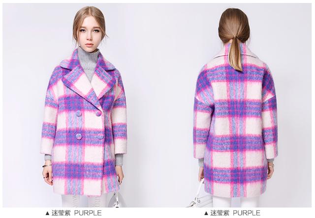 22016 зима новый Европейский plaid pattern мягкий теплый моды пальто женщин мохер шерсть шерстяное пальто куртки