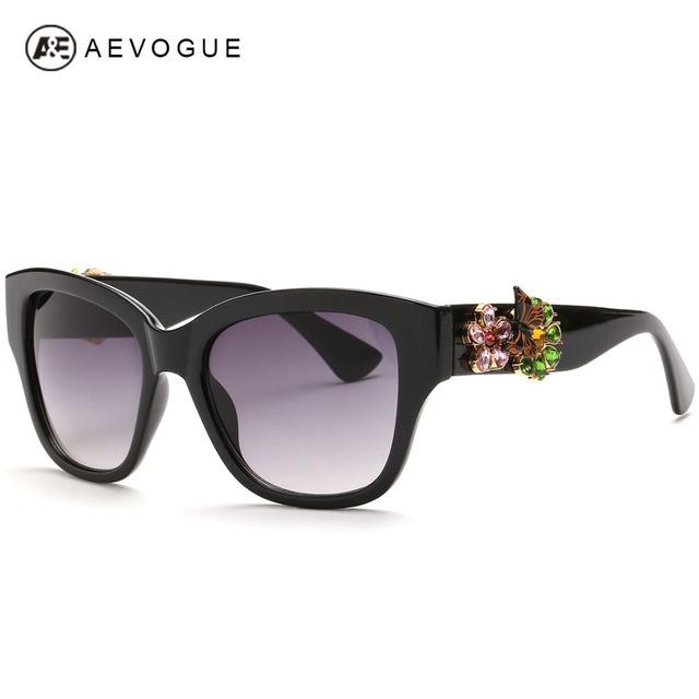 Aevogue новые дизайна бренда солнцезащитные очки женщины высокое качество бабочка би украшения на храм солнцезащитные очки óculos UV400 AE0250
