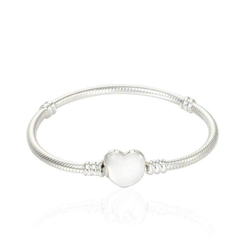 Compatible with Pandora Jewelry Love Heart Snake Chain Silver Bracelet 925 Sterling Silver Bracelets DIY Jewelry Wholesale