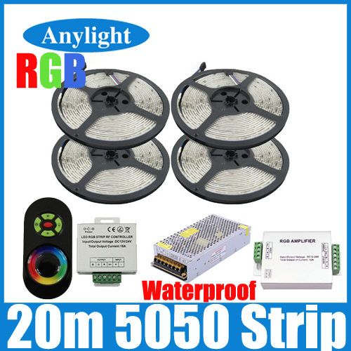 20M Waterproof 5050 RGB SMD 60Leds/M Flexible Led Strip + 24A Amplifier +Wireless RF Dimmer Remote Controller+20 A Power WLED41(China (Mainland))