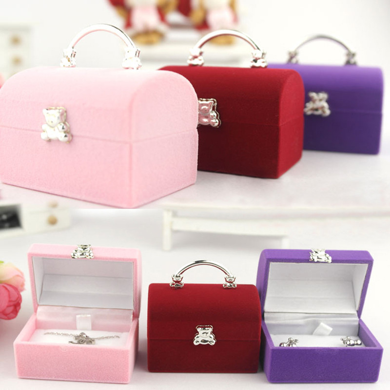 Portable Jewelry Box Ring Necklace Storage Bins Jewelry Storage Case Creative Plush Lined Pure Boxes Home Free Shipping DP137(China (Mainland))