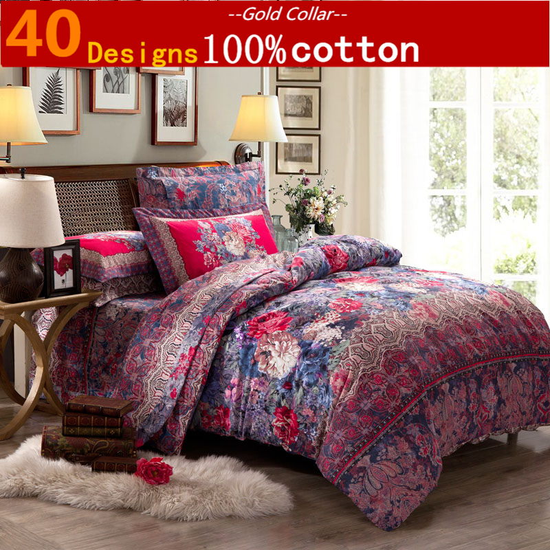 Buy peacock sanding bedding set wedding 100 cotton for Lit queen size taille