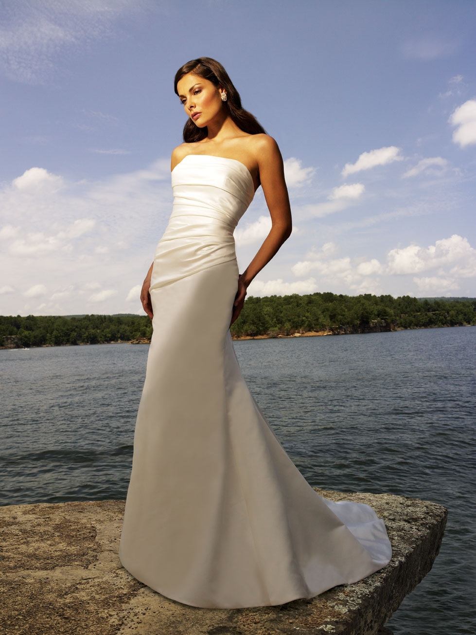 2014ivory scalloped sleeveless off shoulder mermaid full for T length wedding dresses