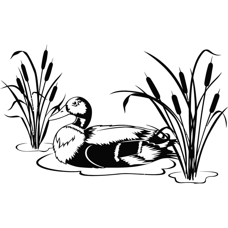 20cm*12.2cm Duck In Water With Beautiful Vinyl Decal Car Sticker Black Silver Car Accessories S6-2720(China (Mainland))
