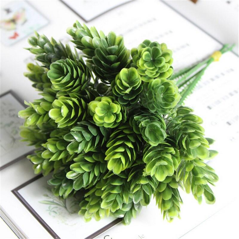 1  Bouquet 6 pcs Home Decor High Simulation Green Plant Pineapple Grass Home Decoration Artificial Flower Plant P0