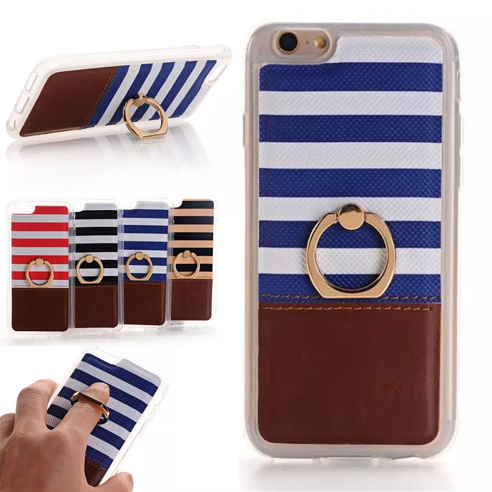 Stripe Navy Metal Finger Ring Stand Holder Back Cover Protective Shell for Apple iPhone 6 6S Plus 5 5S Soft TPU Cell Phone Case(China (Mainland))