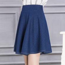 Buy New Fashion Ladies' Elegant vintage Solid Elastic Denim Skirts Women Pleated Jeans Mini Skirt Plus Size Casual High Waist Saia for $26.80 in AliExpress store