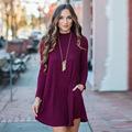 Plus Size Black Red Blue Gray Cotton Bodycon Autumn Winter Sweater Dress Long Sleeve Turtleneck Women