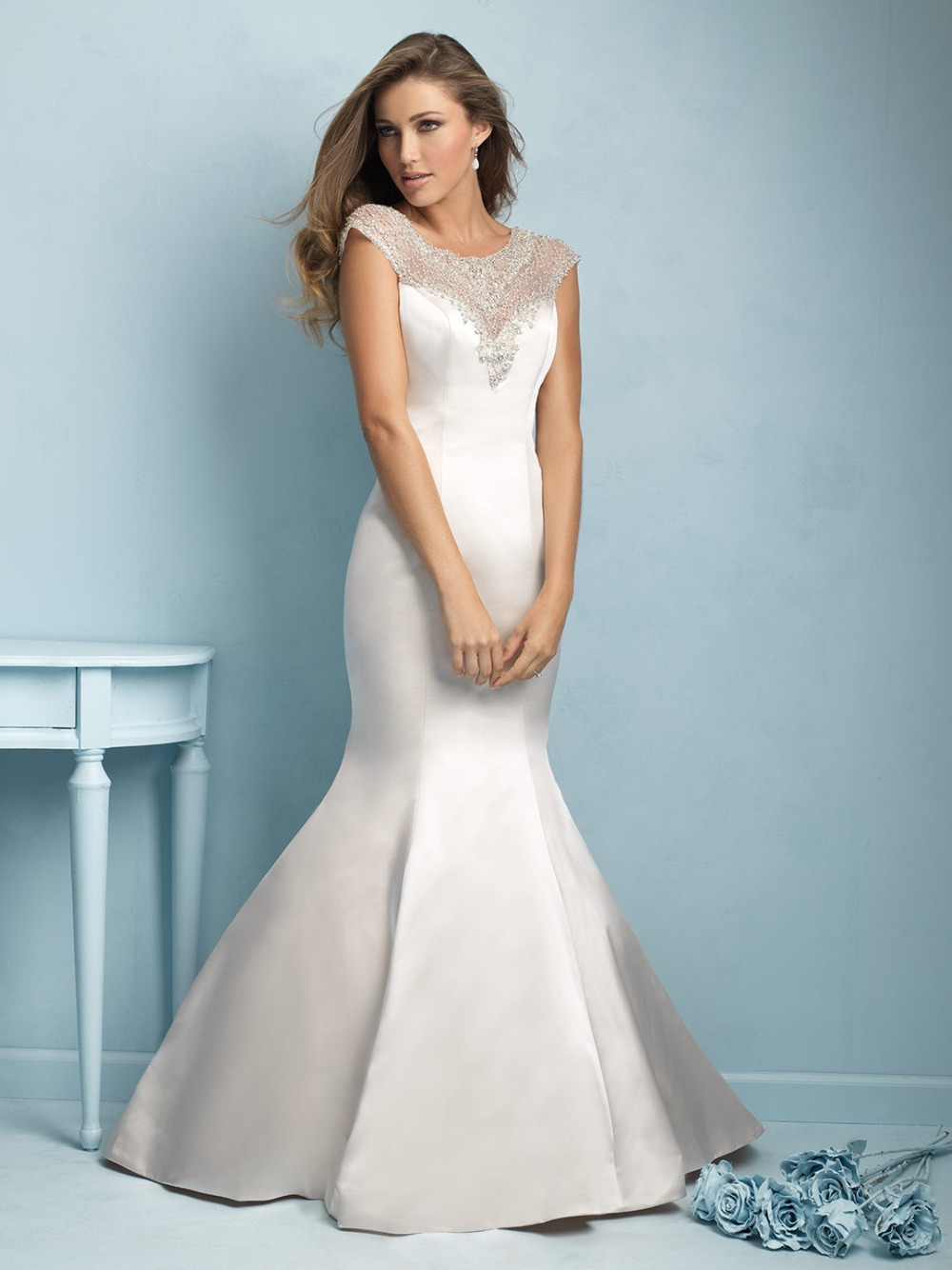 Elegant satin long train trumpet style bridal gown bling for Satin mermaid style wedding dresses