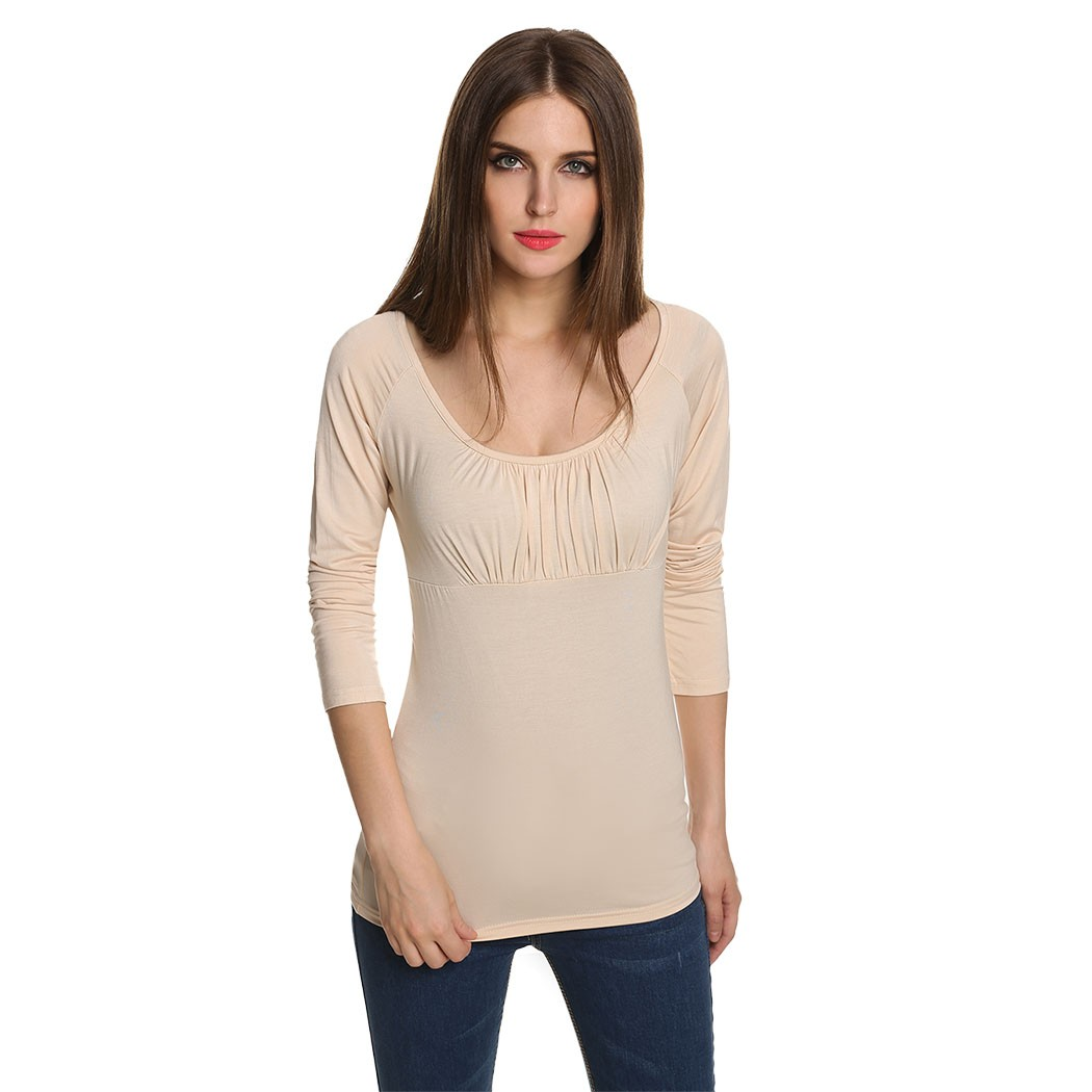 Stylish lady women sexy low cut wrap long sleeve fitted o for Low neck t shirts women s