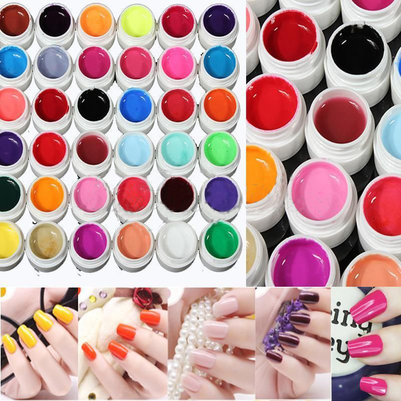 2015 New Arrival 36 colors UV metallic Pure color Nail Polish Gel For Nail Art Tips Solid Extension Manicure Hot Sell