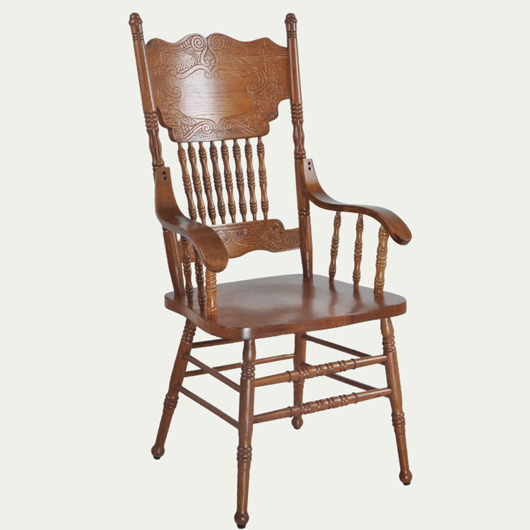 Armchair Wooden Luxury Home Furniture Oak Vintage Dining Chair Carved Back Dining Room Dining