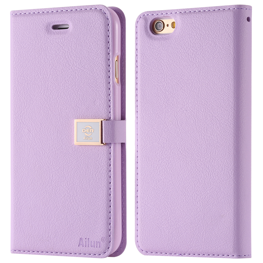 New! Brand Ailun Luxury Leather Case for iphone 6 4.7 i6 Wallet Stand Flip Phone Bags Cover Cute Metal Bukle Pink With Card Slot(China (Mainland))