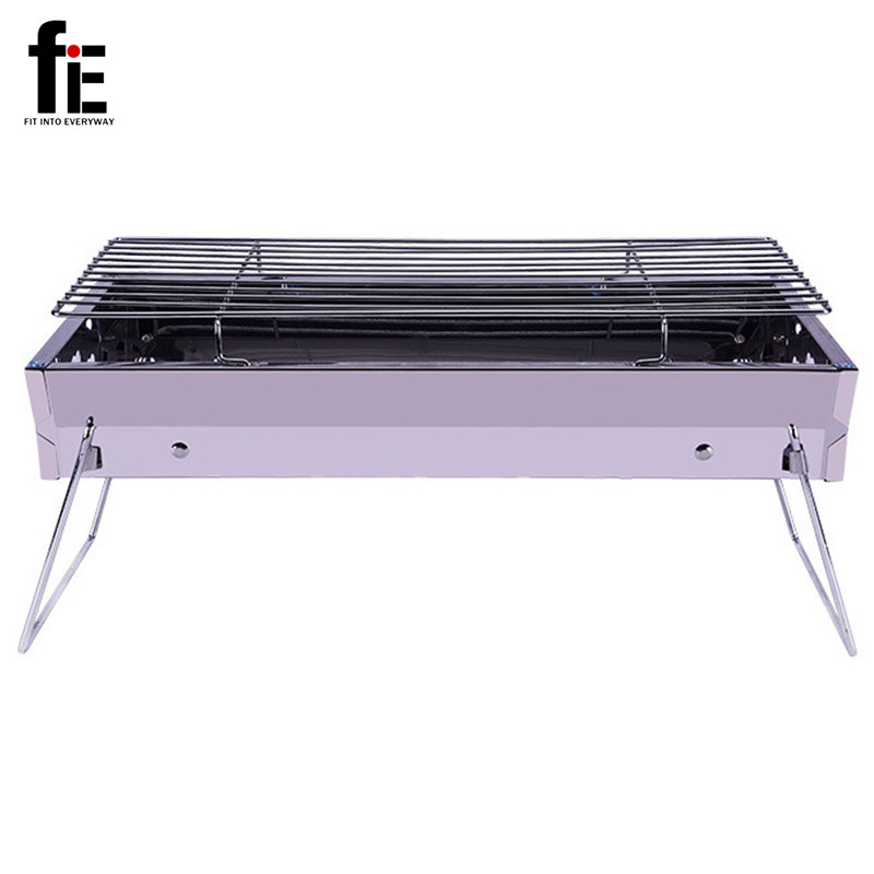 Outdoor Stainless steel Hiking camping portable foldable Charcoal Grill Picnic BBQ GrillS for Barbecue & Sliver(China (Mainland))