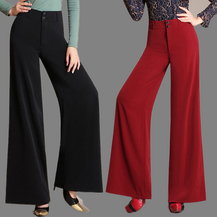 Autumn Womenu0026#39;s Wide Leg Dress Pants Loose Trousers Baggy High Waist Culottes Formal Pants Women ...