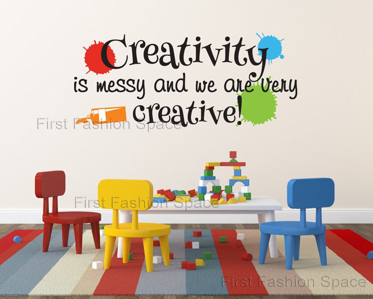 playroom wall decal creativity is messy and we are very