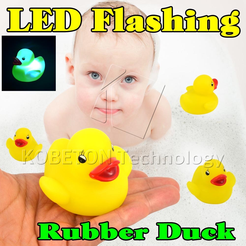 Cute Yellow Duck Bath Flashing Light Toy, Baby Kits Bathroom toys, Led Change Multi Colors Bath Duck, Lovely Gift for Child(China (Mainland))