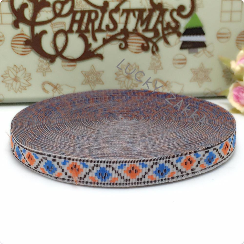 "1/2""(12mmx15y/sets) 100% polyester Woven Jacquard ribbon blue orange chicken Geometric series lace bracelet accessories ribbon(China (Mainland))"