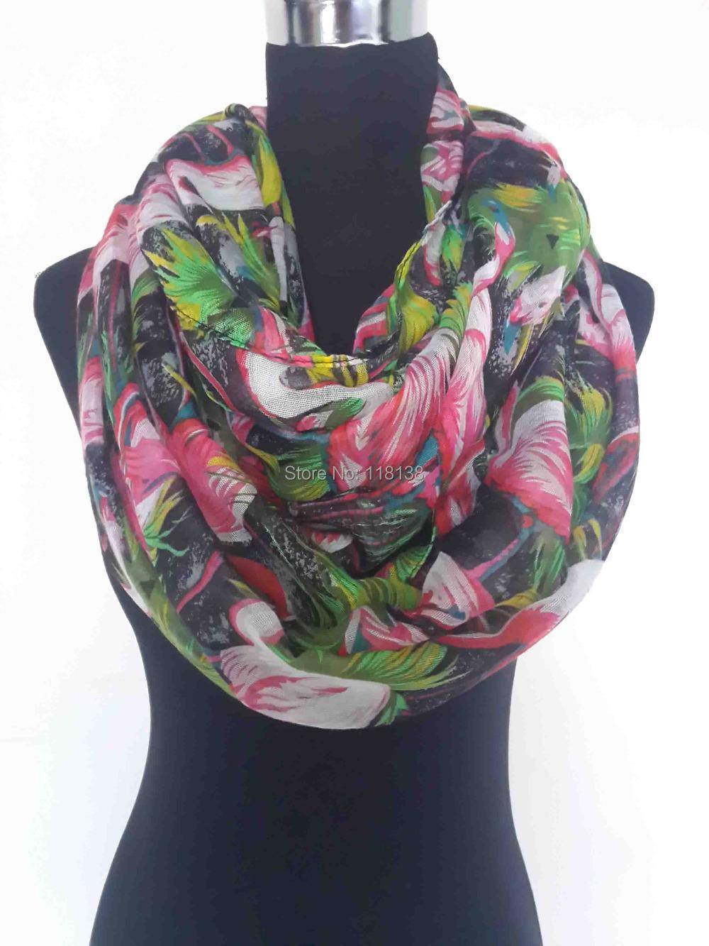 newest oversize flamingo bird print infinity scarf shawl