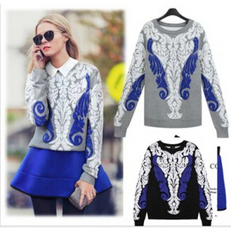 Cashmere Sweater 2014 Women New Sweaters Fashion Totem Printed Knitted Pullovers Long Sleeve O-neck Knitwear M8079(China (Mainland))