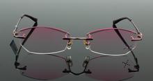 Pure titanium Eyeglasses Frame Diamond cutting edges Fashion Pink lady glasses eyewear frame unisex decorations optical glasses