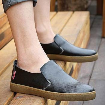 2015 New Fashion Men Shoes Genuine Leather Flats Shoe Male Casual Slip On Men's Shoes Solid Color Chaussure Homme  Scarpe Uomo
