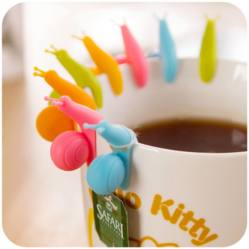 6 pcs/Lot cute Snail wineglass label for tea bag hanging Mug cup clip Tea infuser infusor Party supplies Novelty households 5171(China (Mainland))