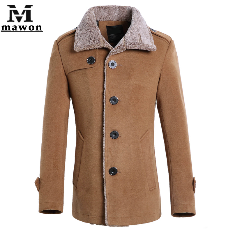 2015 Fashion Winter Mens Jackets Wool Trench Coat Warm Woolen Coats High Quality Outerwear Men Parka Plus Size 4XL MJ235(China (Mainland))