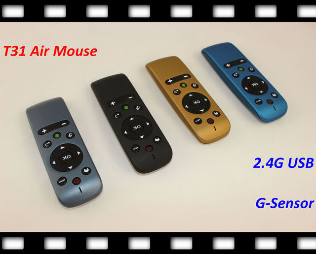 Ship By Fedex 2.4GHz Mini Wireless Gyroscope Fly Air Mouse T31 Android Remote Control 3D Sense Motion Stick Gaming