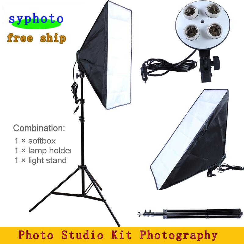 Photo Studio Kit Photography Lighting 4 Socket Lamp Holder + 50*70CM Softbox +2m Light Stand Soft Box - Shangyu Originality Photographic Equipments Co., Ltd store