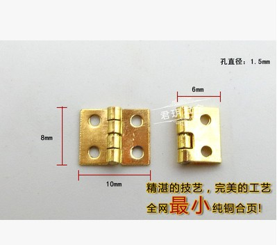 20Pcs Mini Cabinet Drawer Butt Hinge brass small hinge 4 small hole 8*10 copper hinge With screws(China (Mainland))