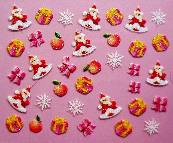 Min.order is $5 Nail 3D Art Stickers Decal Christmas Santa Xmas Gift Box Bows Snow Flakes Design Foils Stamping Tools(China (Mainland))