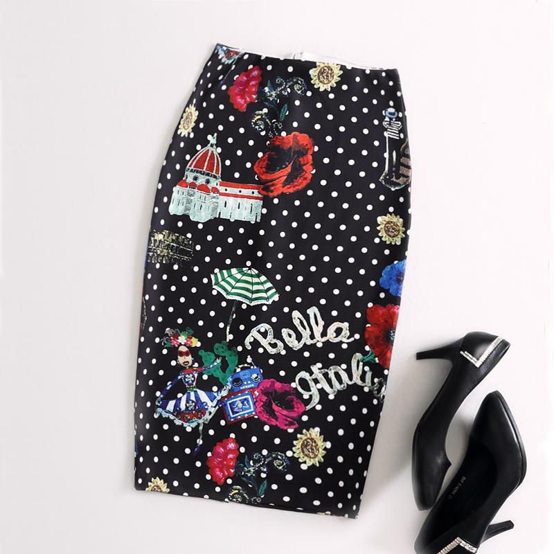 Ladies Elegant Baroque Style Geometric Pattern Print High Waist Tight Pencil Skirt Wear To Work Office Lady Wear Bottom(China (Mainland))