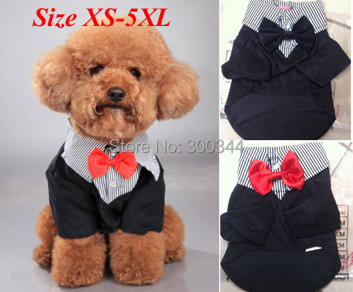 2015 Clothes For Dog Clothing Puppy Pet Apparel 100% Cotton Dog Sets Suits & Bow Tie Plus Sizes