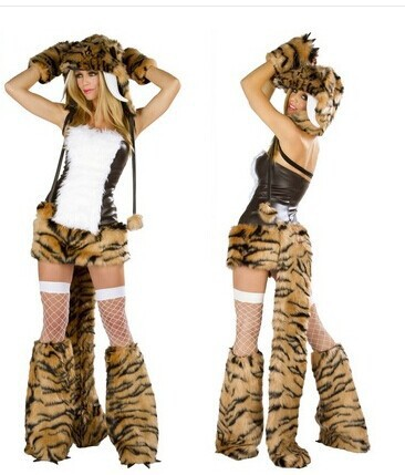 Woman's Halloween Accessories Sexy Animal Leather Fur Tiger Cosplay Costumes Leopard Role Play Masquerade Disfraces Dress H15786(China (Mainland))