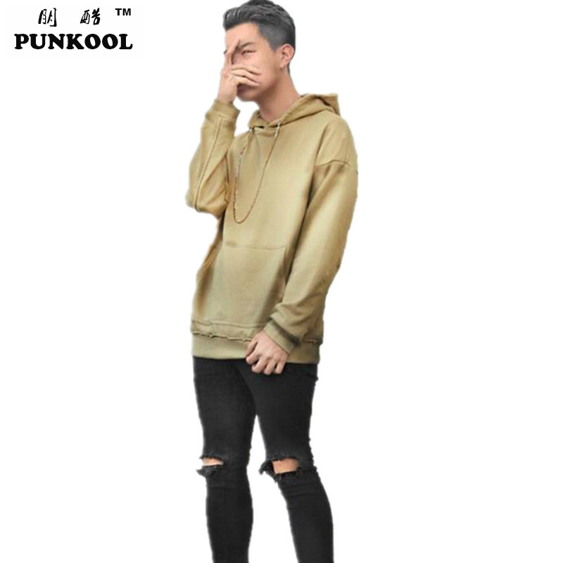 PUNKOOL Good Quality Hip Hop Hoodies With Fleece Warm Winter Mens Kanye West Hoodie Sweatshirt Swag Solid Olive Yeezy Pullover