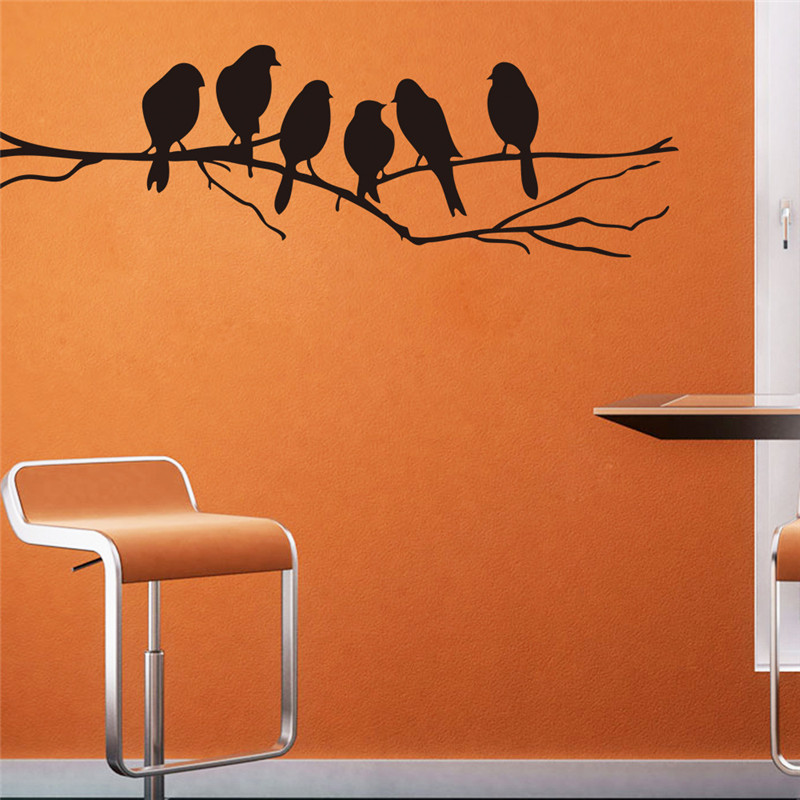 Simple style Tree Bird House Office Decoration Wall Stickers Fashionable Wallpaper Decals Wall Vinyls For Kitchen Fridge HH1272(China (Mainland))