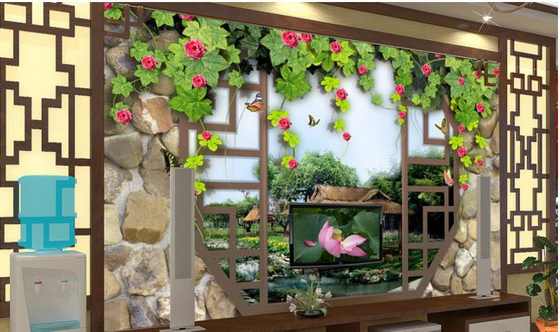 Free shipping modern wall 3d murals wallpaper hd chinese for Chinese wallpaper mural