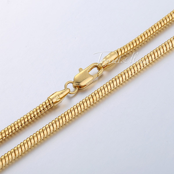 1MM 2MM 2 5MM 3MM Snake Gold Filled Necklace Chain Men Women Chain Wholesale Jewellery Fashion