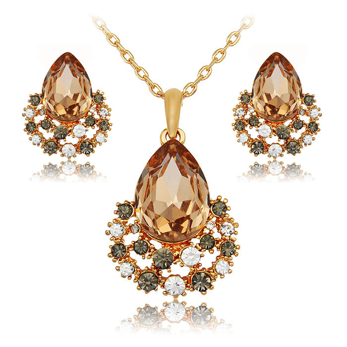 african jewelry set fashion necklace earring sets austrian crystal set women nigeria wedding 24k gold bridal summer jewelry 2015(China (Mainland))