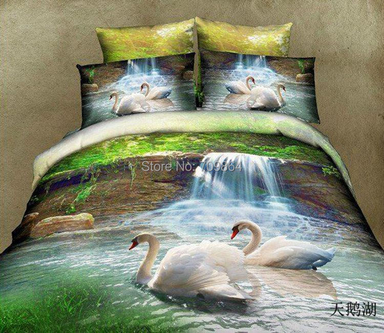 New Beautiful 100% Cotton 4pc Doona Duvet Cover Set Quilt bedding set Full / Queen / King size 4pcs animal white swan birds(China (Mainland))