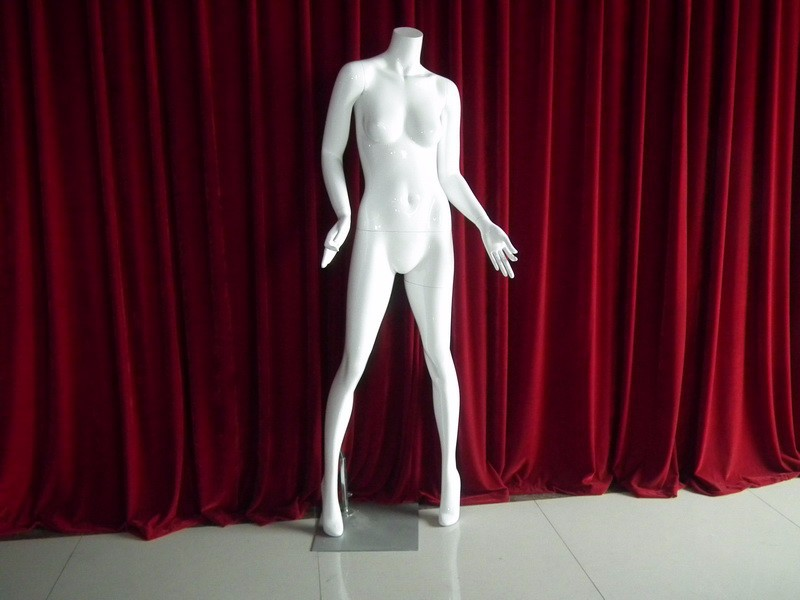 Guangdong Manufacturer Directly Sale The FRP materials,  HIGH GLOSSY WHITE FEMALE  DUMMY   WITH LONG NECK HEAD  for showcase