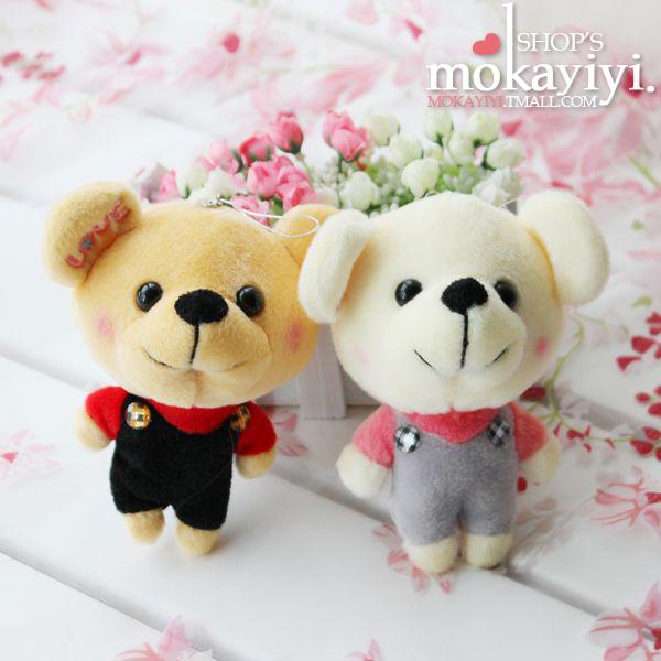 Cute  Teddy Bear  plush toy  doll  Mobile  Automotive  pendant  key chain(China (Mainland))